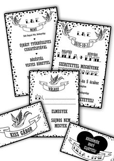 Black-white rockabilly wedding invitation with swallows and hearts.