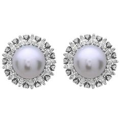 South Sea Pearl DIamond Studs | From a unique collection of vintage stud earrings at https://www.1stdibs.com/jewelry/earrings/stud-earrings/