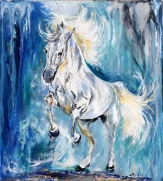 """Horse on fire / Equine Art Modern Contemporary Wall Art Home Decor by Anna Sidi by Anna Sidi-Yacoub Oil painting """" This is an Original Oil painting on board. Protected by a layer of resin. Dimension: 30 cm x 33 cm … """""""