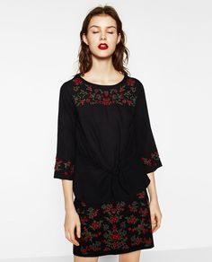 ZARA - WOMAN - EMBROIDERED KNOTTED BLOUSE