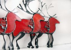 Christmas deer decoration, red reindeer, stained glass ornament, stained glass suncatchers