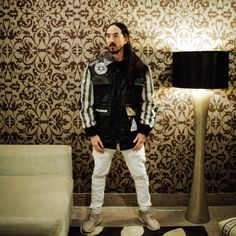 Steve Aoki on Dj Steve Aoki, Guardians Of The Galaxy, Pants, Leather Jacket, Fashion, Musica, Hipster Stuff, Trouser Pants, Studded Leather Jacket