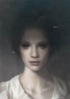 black eyes - woman - close up - dark hair - white blouse - neck - nose - lips - collar bones - evil or just alone? - tom bagshaw
