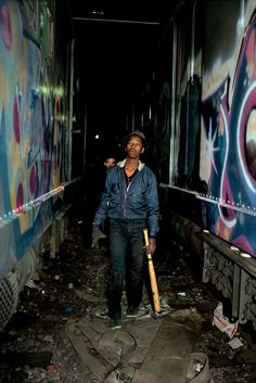 Relive the Glory Days of Subway Graffiti With These Captivating Photos - Atlas Obscura Dez on lookout with a baseball bat in the 3 Yard, Manhattan, (Photo: © Martha Cooper) Graffiti Photography, Modern Photography, Abstract Photography, Artistic Photography, Photography Ideas, Scenery Photography, New York Graffiti, Street Art Graffiti, Graffiti Artists