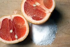 "Sprinkle With Salt: Using 1 grapefruit half at a time, sprinkle liberally with salt. Wet your bathtub and sprinkle the remaining salt around the bottom.  Scrub your grapefruit around your shower or tub, making sure to slightly ""juice"" the citrus over each fixture and lifting it every few seconds to pick up fresh salt from around the tub instead of just pushing it around. Rinse"