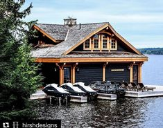 The Boathouse: a new definition to lakefront living! Cottage Living, Cottage Style, Lakefront Property, Water House, Luxury Homes Dream Houses, Cottage Exterior, Floating House, Rustic Design, Boathouse