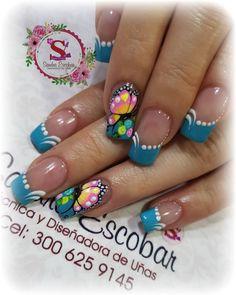 318 Me gusta, 0 comentarios - Sandra Escobar. (@sandraescobar78) en Instagram Color For Nails, Gel Nail Polish Colors, Nail Colors, Nail Saloon, Pretty Nail Art, Flower Nails, Gorgeous Nails, French Nails, Spring Nails