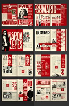 Diseño Editorial - Revista Pymes (re-diseño) by Boris Vargas Vasquez, via Behance editorial design for a smbs magazine red black and white layout Magazine Layout Inspiration, Cv Inspiration, Graphic Design Inspiration, Editorial Design Layouts, Graphic Design Layouts, Graphic Design Magazine, Magazine Layout Design, Magazine Layouts, Editorial Design Magazine