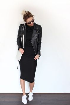 Fall trends | Black leather moto jacket over black pencil dress, white sneakers and a purse