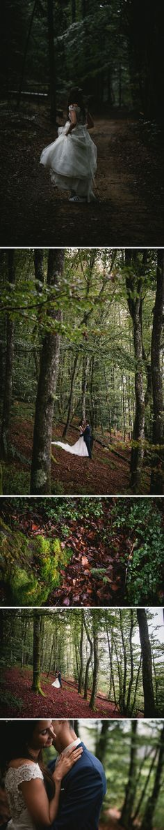 The bride was wearing sneakers - trash the dress session in the forest in France - Zephyr & Luna photography