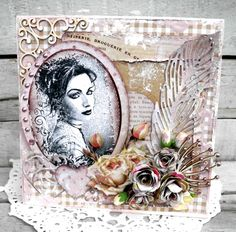 Maribel - Pia Baunsgaard - Stempelglede :: Design Team Blog Invitation Cards, Invitations, Mixed Media Scrapbooking, Mixed Media Art, Altered Art, Stamp, Cool Stuff, Rose, Projects
