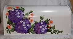 Hand Painted Mailbox with Hydrangea and Trumpet Vines - Ready to Ship  $89.95 Ready to Ship