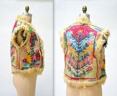 Vintage Embroidered Shearling Vest