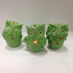 Trio de Corujas Led Verde