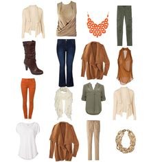 A Spring/Autumn Capsule Wardrobe in Warm Autumn Colours. 4 x 4 grid, pick a line any way and you have an outfit.