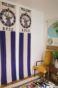 Welcome to Homestead 10 - Vintage B.P.O.E. Banners, Schoolhouse Map, Drexel High Back Chair