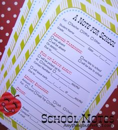 School Note Printable // could be kept in each childs bag to make it easier for parents to communicate