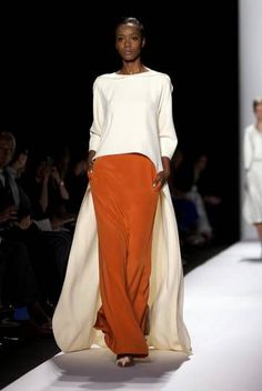 2014 collection: loose silky orange pants and flowy jumper-coat in white