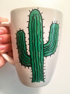 Hand painted cactus coffee mug by harmlessvillain on Etsy