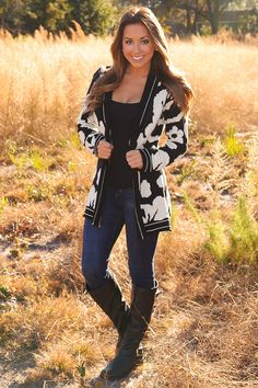 All Mixed Up Cardigan: Black/Ivory | Hope's