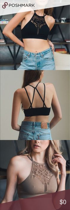 THERE HERE!!!! stretchy bralet with cut out design This is a very comfortable option from a bra, it give enough support and a wonderful design to adorn the front while a series of different straps crossing your back for extra support and cool looking lines. Other
