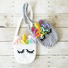 Crochet Unicorn Purse Girl's Accessory Toddler Child Handmade