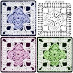 Transcendent Crochet a Solid Granny Square Ideas. Inconceivable Crochet a Solid Granny Square Ideas. Motifs Granny Square, Crochet Motifs, Crochet Blocks, Granny Square Crochet Pattern, Crochet Diagram, Crochet Stitches Patterns, Crochet Chart, Crochet Squares, Crochet Granny