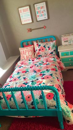 Redoing my 3 year olds room ❤ Cute Rooms For Girls, Little Girl Rooms, Colorful Girls Room, Preteen Girls Rooms, Kids Rooms, Big Girl Bedrooms, Girls Bedroom, Bedroom Ideas, Trendy Bedroom