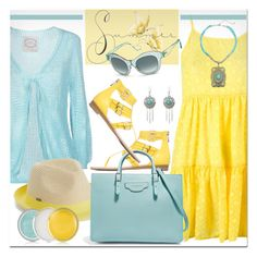 """""""Summer Turquoise & Yellow"""" by brendariley-1 ❤ liked on Polyvore featuring PINK MEMORIES, Blue Man, Roxy, Balenciaga, M&F Western and Clinique"""