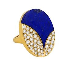 An oval lapis and pavé diamond ring of abstract design, in 18k gold. Bulgari, Made in France. Atw. 1.10 ct. diamonds.(jm)