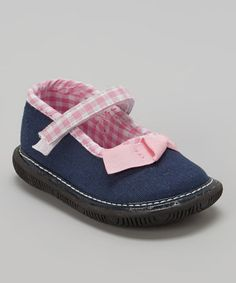 Look at this #zulilyfind! Navy & Pink Plaid Squeaker Mary Jane #zulilyfinds