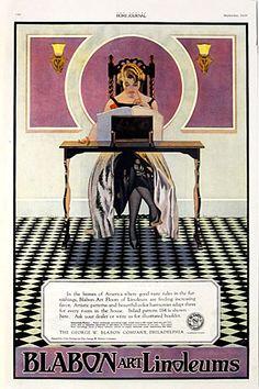 "Title: Blabon Art Linoleums  Date: Sept. 1920  Artist: Coles Phillips  Size: Sheets 11""x16""  Comments: Excellent color advertisement by the great Coles Phillips from Ladies Home Journal, for artistic linoleum."