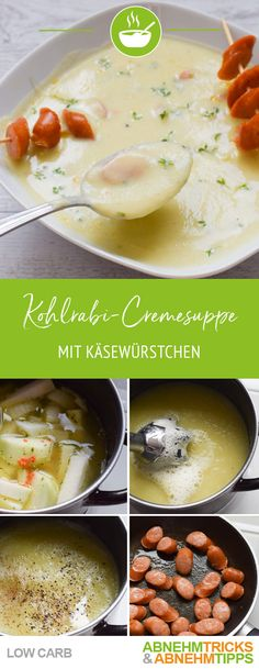 Delicious low carb kohlrabi cream soup with cheese sausages - Suppen - Suppe Vegetable Soup Healthy, Healthy Soup Recipes, Low Carb Recipes, Vegetarian Recipes, Chou Rave, Hamburger Meat Recipes, Hamburger Casserole, Chicken Recipes, Sausage Soup
