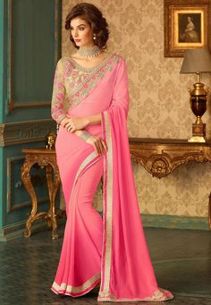 Chiffon Pink Half And Half Saree.Add grace and charm towards the appearance in this attractive Salmon & Off White Chiffon Saree. The ethnic Lace & Resham work at the clothing adds a sign of attractiveness statement with your look. Chiffon Saree, Georgette Sarees, Lehenga Choli, Net Saree, Chiffon Fabric, Lengha Dress, Handloom Saree, Indian Designer Sarees, Designer Sarees Online
