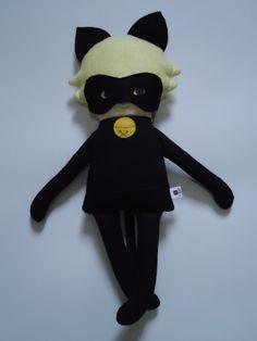 Chat Noir - Fabric Rag Doll