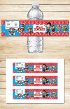 Free Paw Patrol Printables: Free Printable Paw Patrol Water Bottle Labels | Red BG Theme