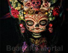 Beautiful Mortal Mysterious Dia De Los Muertos Death Princess Doll canon PRINT 529 Reproduction by Michael brown