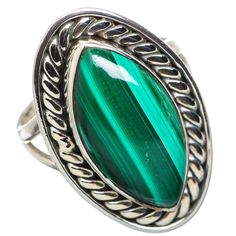 Ana Silver Co Malachite 925 Sterling Silver Ring Size 7 RING828672