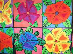 3rd Grade - Georgia O'Keeffe Flowers  Did with my 3rd's and they were beautiful... we used oil pastels.