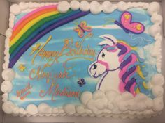 Rainbow horse cake Unicorn Birthday, Unicorn Party, Western Birthday Cakes, Sheet Cake Designs, Rainbow Drawing, Unicorn Cakes, Family Cake, Horse Cake, Vintage Cakes