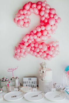 Great second birthday balloon sculpture