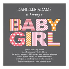 Bold bright colors announce she's having a baby girl and we're having a shower!  Gray background with fun cutout letters in pink white and orange.  #babygirlbabyshower