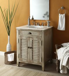 THIS IS THE ONE rustic wood vanity | 26 Cottage look Abbeville Bathroom Sink vanity Model CF28323