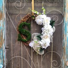 Moss monogram white wedding wreath by CLMahler on Etsy, $65.00