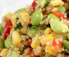 Quinoa Corn Edamame Salad - Perfect for summer - I of course switched a few things up based on what was in fridge ... possibilities are endless ... No edamame?  Try cucumbers!  Why not throw in a tomato!  Mom didn't have the lemon or lime juice ... so I used Mellow Yellow!  lol - still GREAT!