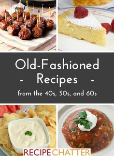 These old fashioned recipes have stood the test of time! Not only are the meals that Mom used to make delicious, but they're also full of great memories. Diner Recipes, Retro Recipes, Old Recipes, Vintage Recipes, Cookbook Recipes, Popular Recipes, Cooking Recipes, 1950s Recipes, Diner Food