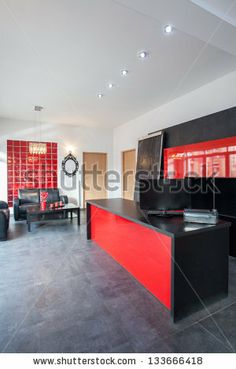 Superbe Office With Red And Black Interior By Photographee.eu, Via Shutterstock  Office Interior Design