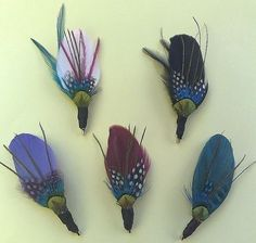 feather boutonnieres and for headbands