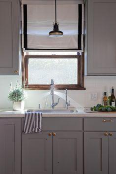 Cabinet color (Ben Moore Eagle Rock Grey) and door hardware