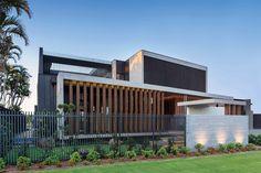 Vulcan Timber Screening in Teak Finish Timber Screens, Timber Cladding, Exterior Cladding, Coast Australia, Modern Architecture House, Luxury Yachts, Sunshine Coast, Luxury Homes, Teak